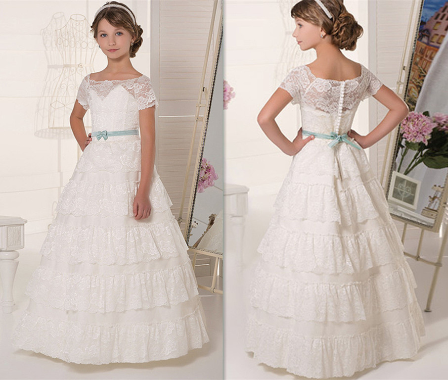 New Puffy Tulle Girls Pageant Gown Lace Flower Girls Dresses for Wedding 2018 Long Communion Gown teen girls long lace tulle dresses for