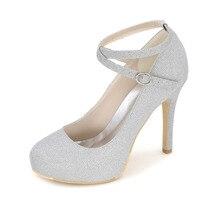 Gekreuzte fesselriemen frau runde kappe high heels gold silber blue glitter inneren plattform damepumpen partei cocktail mode schuhe