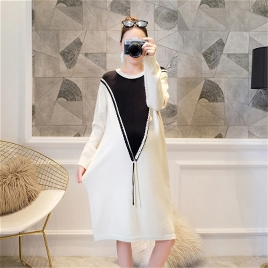 Pregnancy Dress Maternity Sweater Long Sleeved Vestido Autumn Winter Casual Knitted Pregnancy Clothes For Pregnant Women 70R0186 women slim white dress 2017 new autumn winter long sleeved pullover turtleneck knitted dress bodycon basic casual wear vestidos
