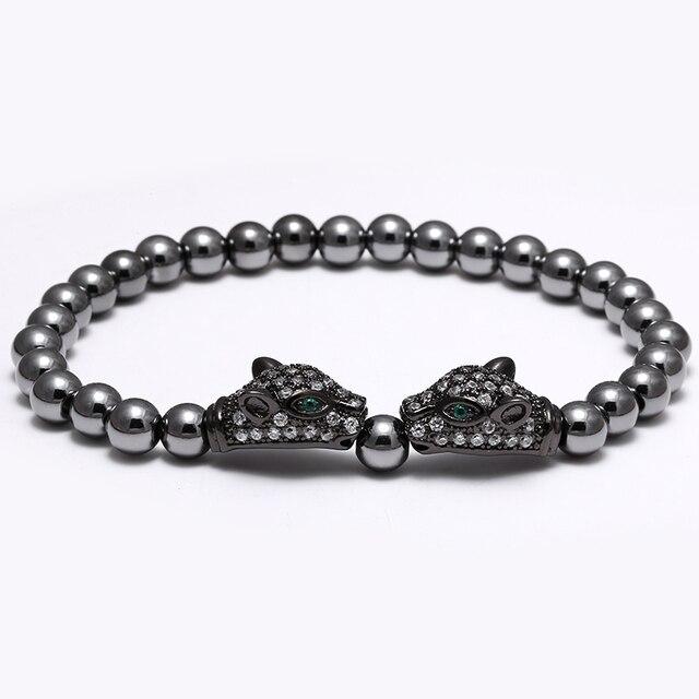 Twin leopard Head Beads Bracelets Men Women Anil Arjandas pulseira feminina Titanium Steel Bead Micro Pave CZ Cubic Zirconia