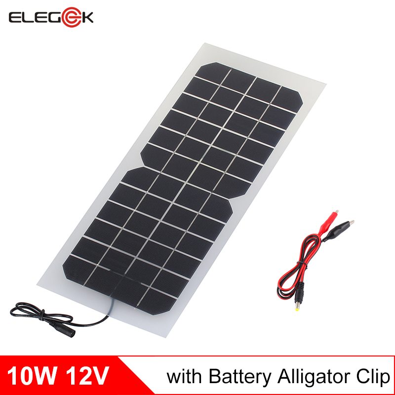 ELEGEEK 10W 12V Solar Panel Charger Semi-flexible Transparent Solar panel Cell Charger for12V Battery with Battery Clip