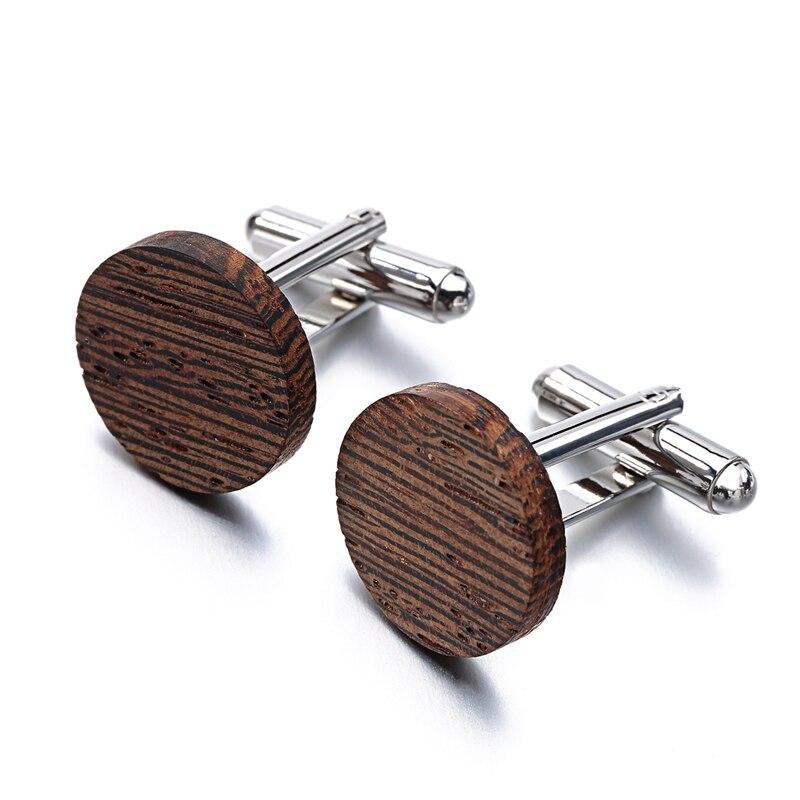 Hot Sale Wood Cufflinks High Quality Brand Jewelry Fashion Square Cassia siamea Cuff links For Mens