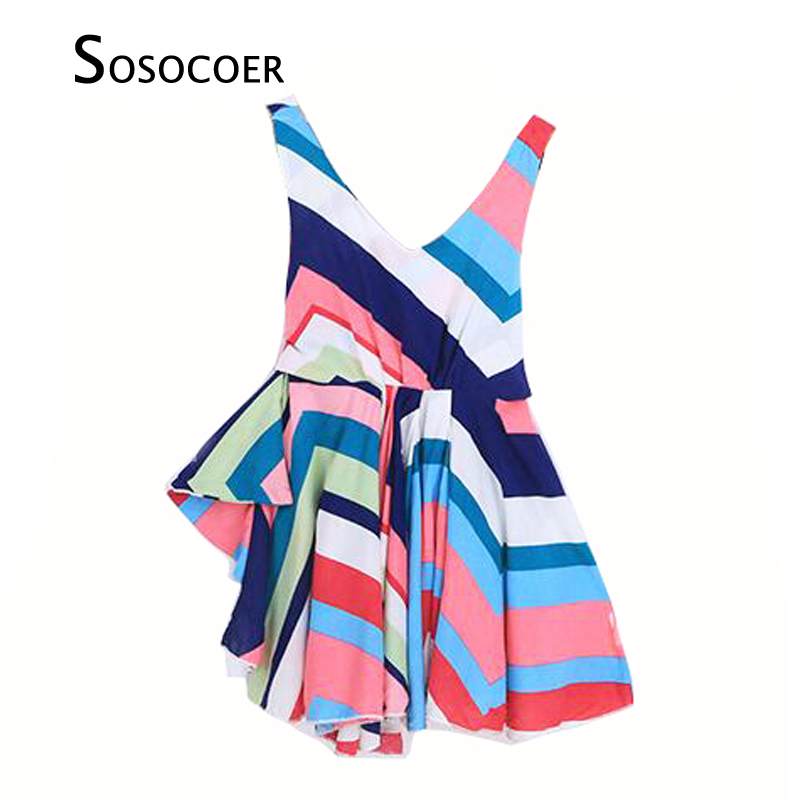 SOSOCOER Little Girl Dresses Summer Brand Rainbow Stripe Toddler Girls Dress Fashion Suspenders Kids Dresses For Baby Clothes