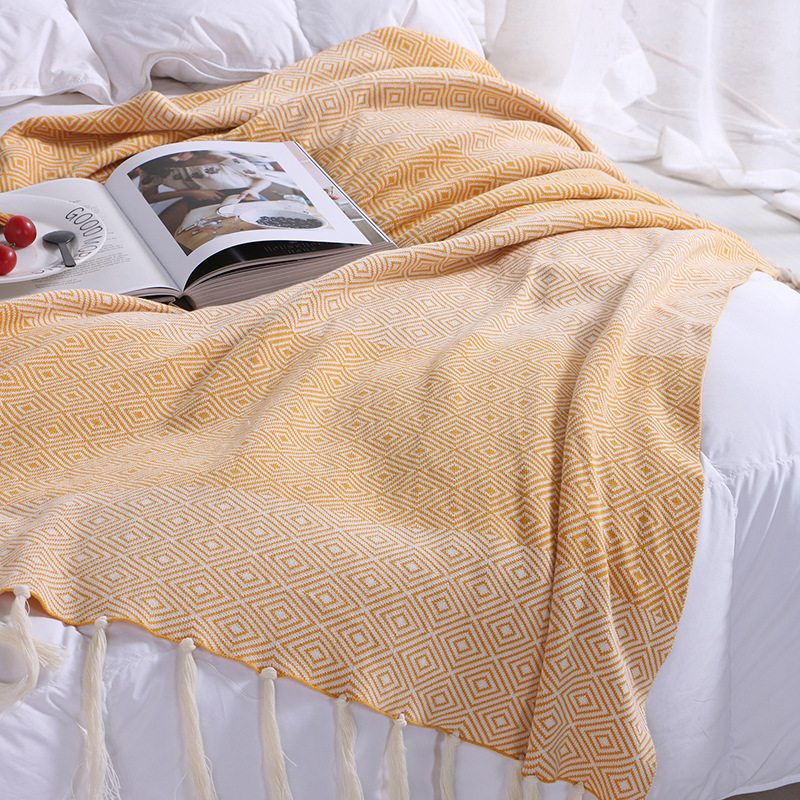 130x180cm Cotton Knitting Tassel Blanket Adult Blankets Blankets Soft Throw on Sofa/Bed/Plane Travel Air Conditioning Blanket