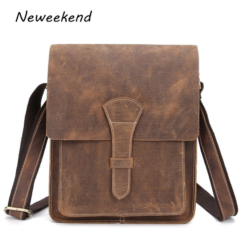 ФОТО Vintage Crazy Horse Leather Men Shoulder Bag Crossbody Bag Men's Messenger Bag Genuine Leather Bag male Leisure Cowhide 1093