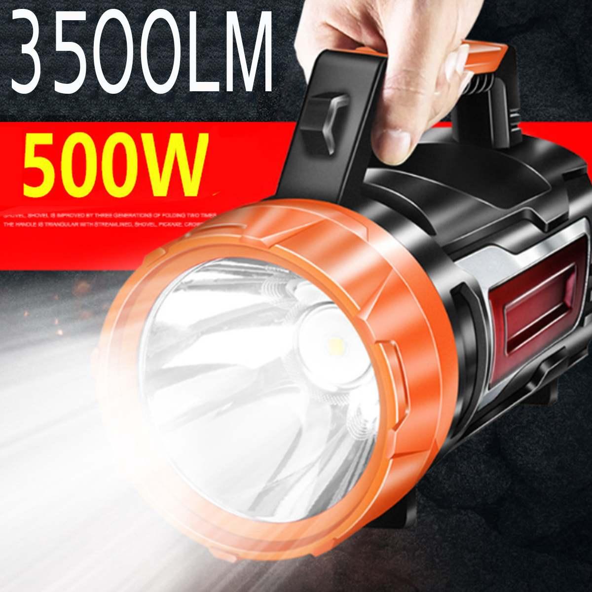 500W USB Charging LED Work Light Torch 10000mAh Battery Spotlight Hand Lamp Camping Lantern Searchlight for Hiking Hunting