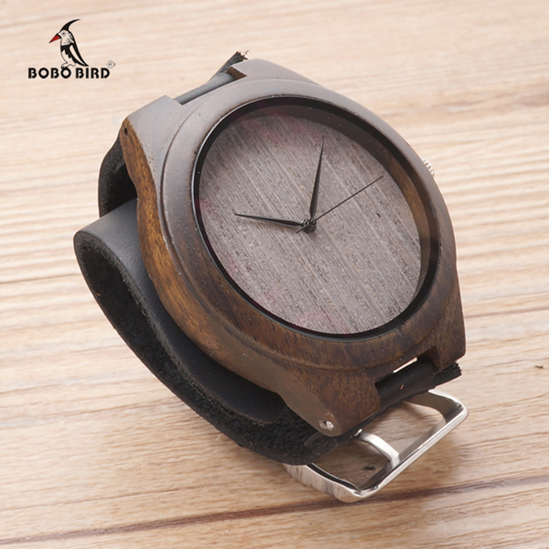 2017 Men Watch BOBO BIRD Brand Luxury Watches Bamboo Handmade Casual Wrist Watch relogio masculino - Black Leather Band C-F07