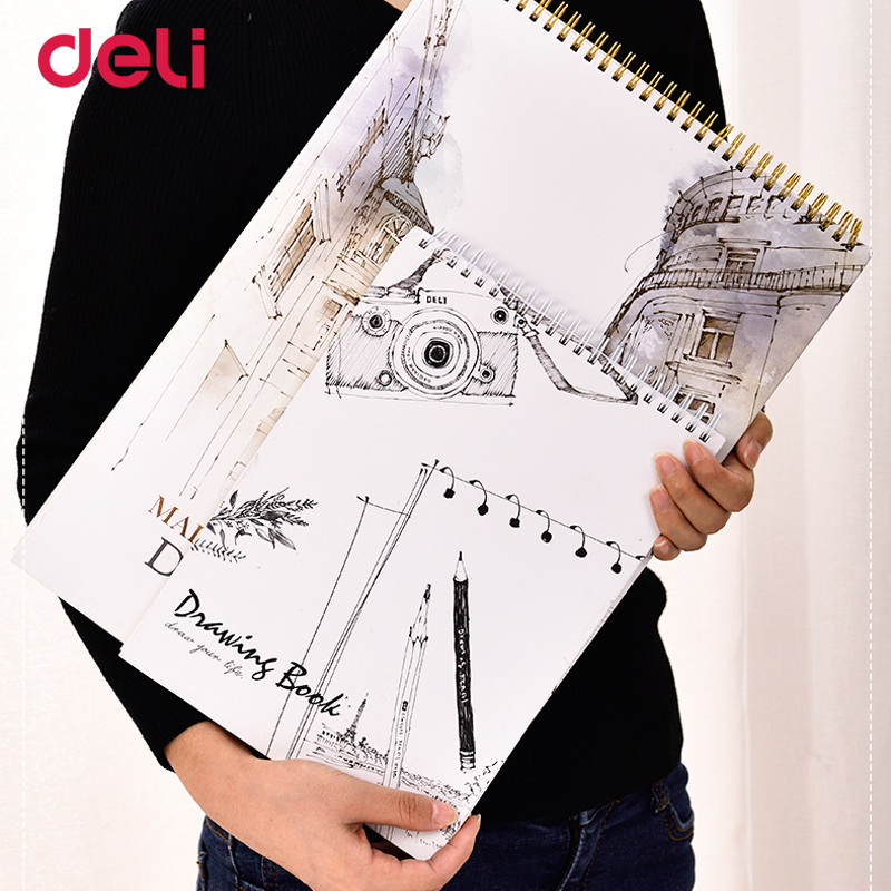 Deli 2018 high quality 2 size artist sketchbook for drawing school spiral notebooks professional anime copic sketch books easel