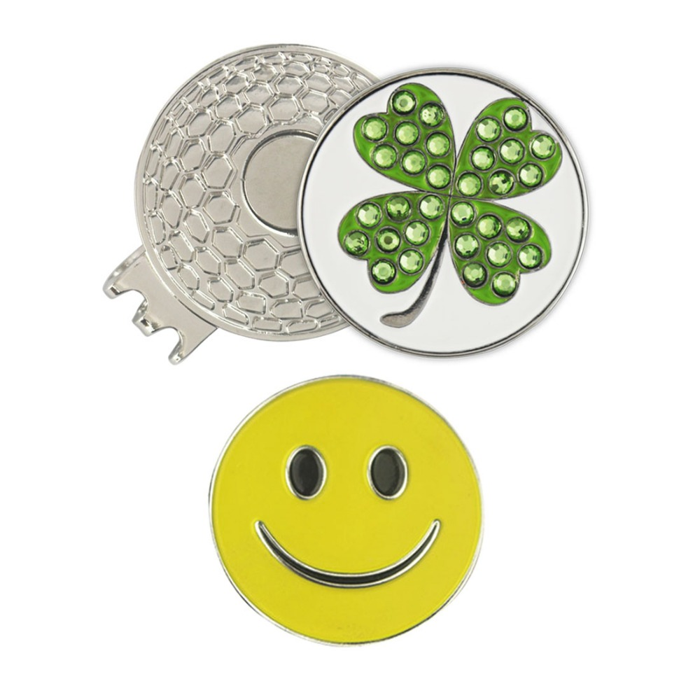 PINMEI Crystal Clover Golf Ball Mark Magnetic Hat Clip Sets 1pc Cap Clip 2pcs Golf Markers