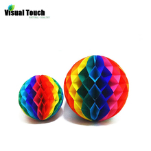 Visual Touch 15/20/30cm Rainbow Honeycomb Paper Flowers Ball Garland Birthday Wedding Festival