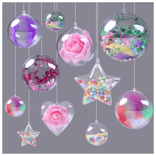 10pcs Transparent Plastic Ball Christmas Tress Decorations Waterdrop Clear Ornament Tree Decorations Xmas Supplies Candy Ball