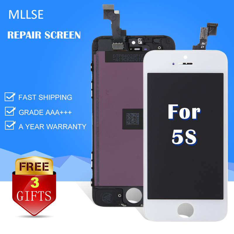 MLLSE For iPhone 5 5s 5c LCD display with touch screen digitizer replacement mobile phone cracked glass AAA quality black white