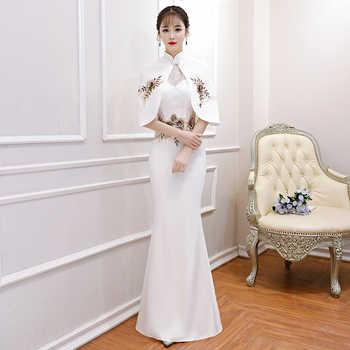 White Elegant Lace Floral Women Cheongsam Vintage Mandarin Collar Qipao Sexy Slim Mermaid Evening Dress Vestidos With Cape - DISCOUNT ITEM  41% OFF All Category