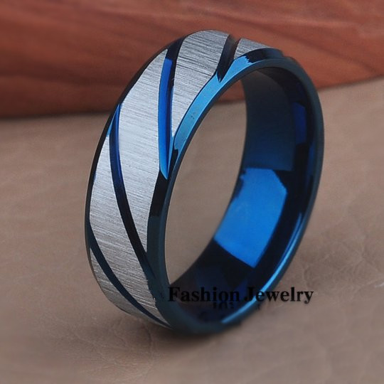 Black Blue Gold Twill Ring Anium Band Brushed Wedding Stainless Steel Solid Men Women 316l Rings In Bands From Jewelry
