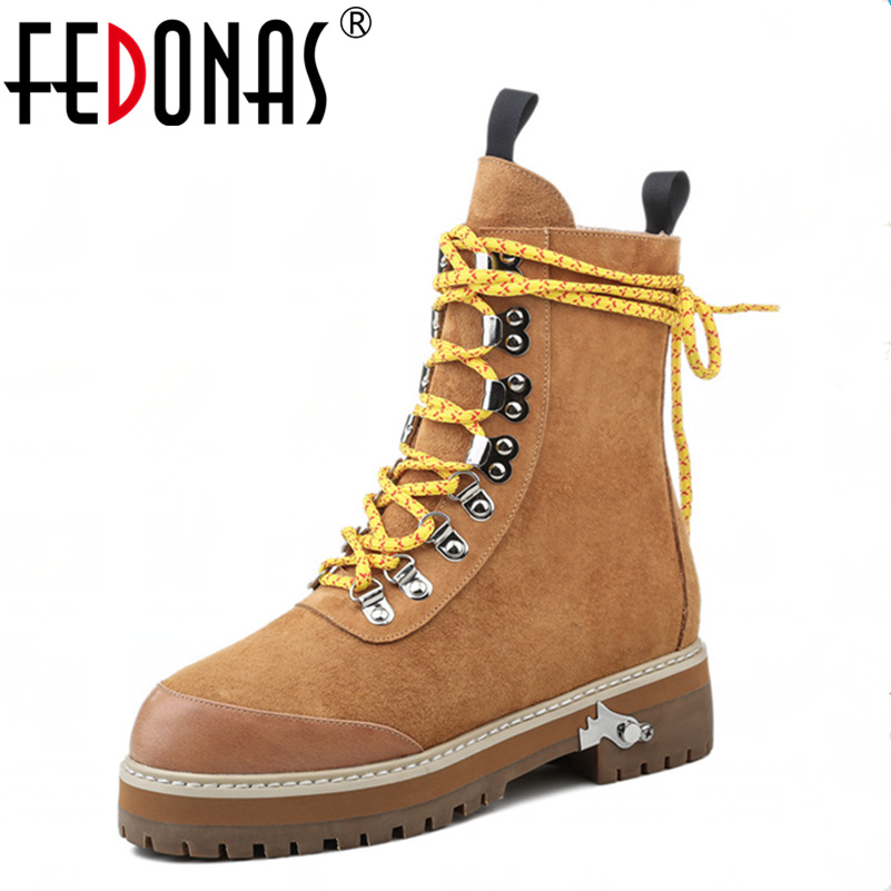 FEDONAS Retro Women Thick High Heeled Ankle Winter Warm Boots Cross-tied Autumn Winter Martin Boots Genuine Leather Shoes Woman fedonas top quality brand ankle boots super high heels buckles shoes woman winter warm genuine leather boots women martin boots