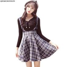 Preppy Style Braces Skirts Female 2017 Spring High Waist Lolita Umbrella Women Short Wool Suspender Plaid saias