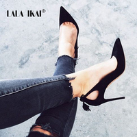 LALA IKAI Flock Women Pumps Elegant Bow Knot Tassel High Heels Slip On Wedding Lady Shoes Chaussure Femme Talon 014C0789 5