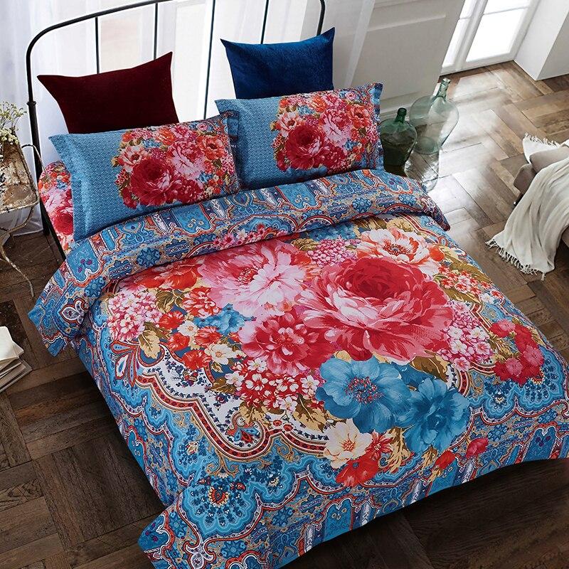 Bedding Set 4Pcs/Set Bohemian Prints Summer Breathable Comfortable Cover Bed Set Bohemian Bedclothes Home Bedding Supplies