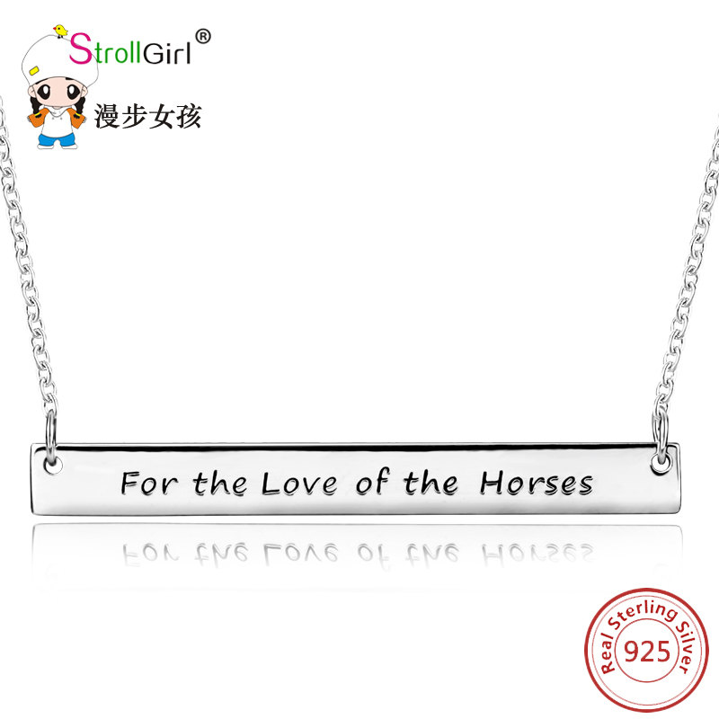 Strollgirl Pendant Necklace Accessories 925 Sterling Silver Jewelry For Women Letter Pendants Necklace Chain Authentic Silver