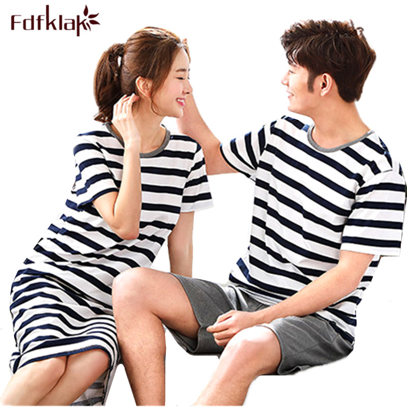 Fdfklak Couples Pajamas Set Plus Size Striped Pyjamas Women or Man Sleepwear Pajama Tracksuits for Women Pijama Feminino M-3XL