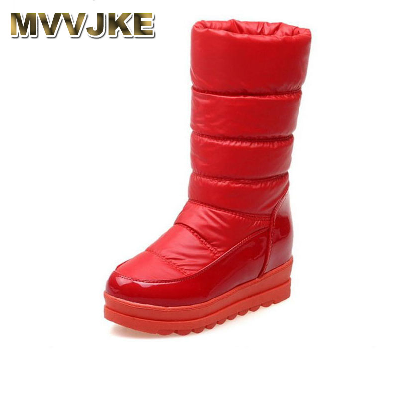 MVVJKE Size 34-43 Women Thick Fur Shoes Snow Boots Warm Wedges Boots For Cold Winter Shoes Half Short Boots Women Footwears coolcept size 34 43 fashion rusia women winter snow botas flats boots cross strap short boots with fur shoes for women footwears