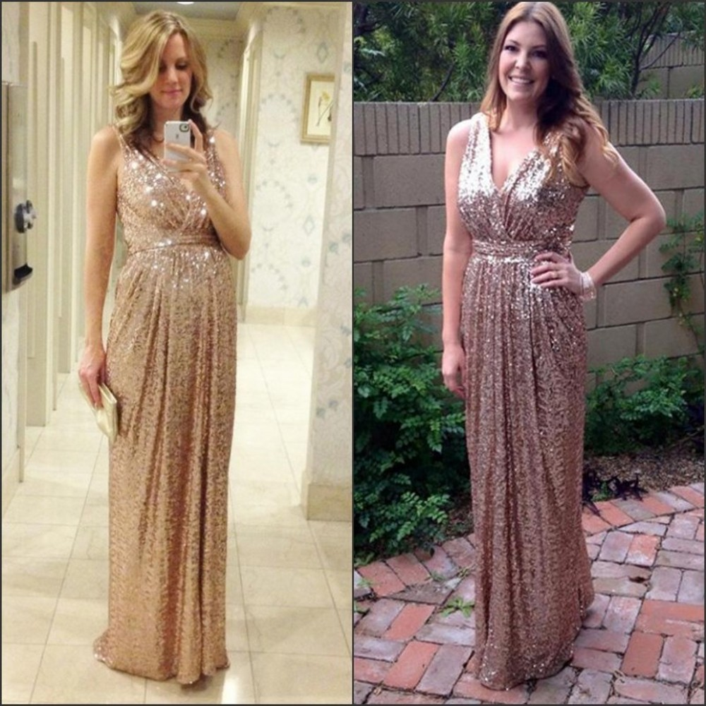 2016 Bling Rose Gold V Neck Sequined Backless Plus Size Long Beach  Bridesmaid Bridal Party Gowns dress-in Bridesmaid Dresses from Weddings    Events on ... 7ad9bd36210a