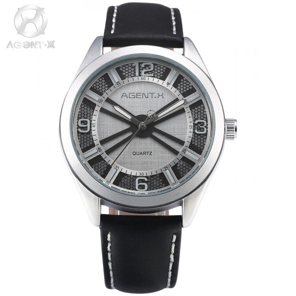ФОТО AGENTX Brand Business Men Watch Silver White 3D Round Slim Analog Black Leather Band Strap Quartz Wristwatch + Gift Box / AGX144