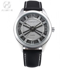 AGENTX Brand Business Men Watch Silver White 3D Round Slim Analog Black Leather Band Strap Quartz Wristwatch + Gift Box / AGX144