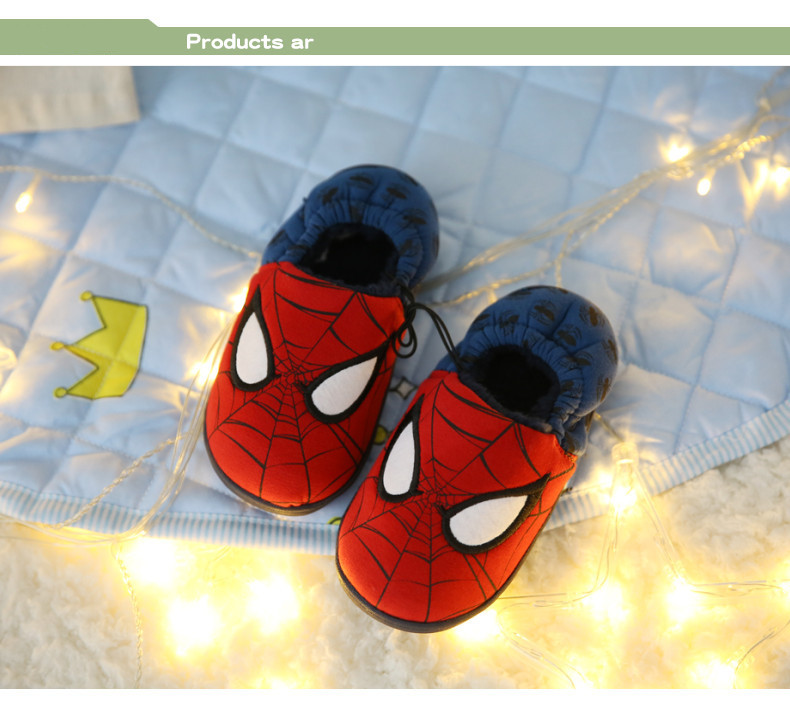 Disney slippers winter todder spiderman home slippers baby boy warm plush shoes cartoon animation floor pantuflas terlik (5)