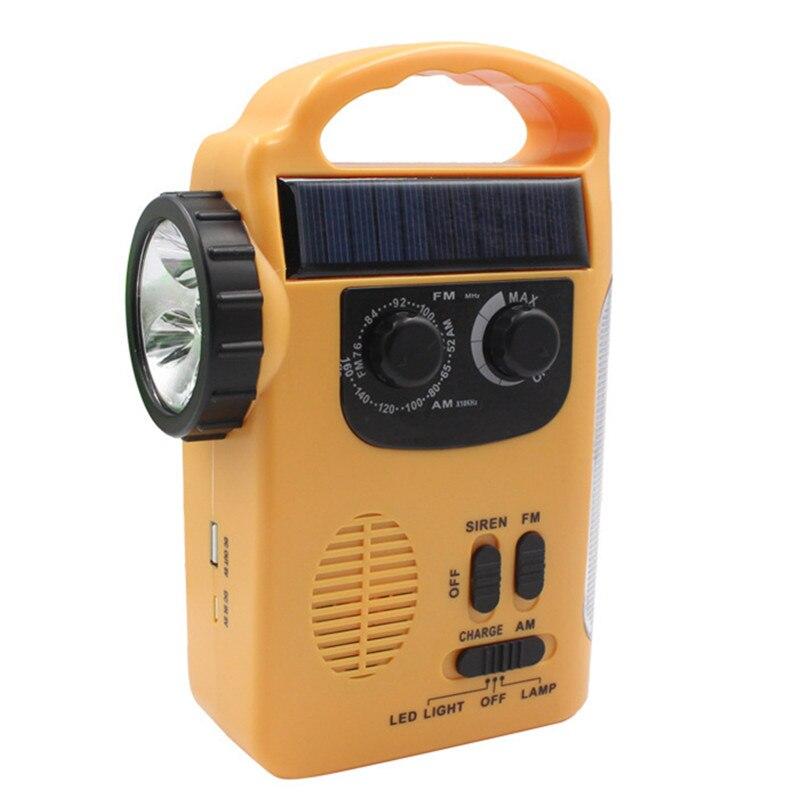 Lumière LED Portable lampe de poche FM Radio chargeur de téléphone Portable extérieur énergie solaire main génération d'énergie batterie au Lithium haut-parleur