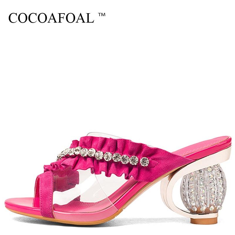 COCOAFOAL Для женщин прозрачные шлепанцы Новая летняя обувь на высоком каблуке в зеленом цвете с открытым носком Красная Роза Кристалл Sandbeach шле...