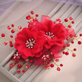 Coreano handmade crystal pearl strass flor clipe cocar acessórios do cabelo do casamento flor de cabelo de noiva headpiece