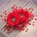 Coreano hecho a mano de perlas de cristal rhinestone clip de la flor del tocado del pelo de la boda accesorios para el cabello de flores nupcial celada