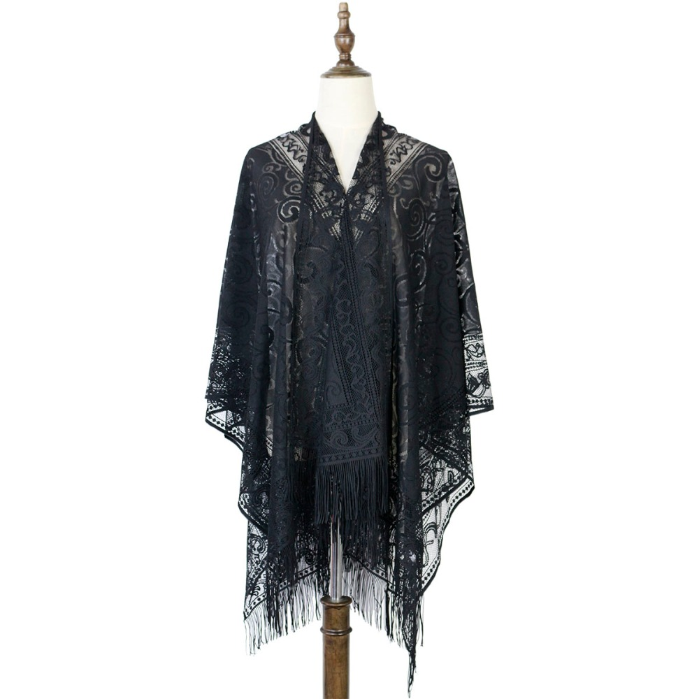 Beach Women Poncho Shawl Capes Wraps Lace Ponchos Capes Hollow Fashion Outwear Tippet Scarves Luxury Brand Scarf Women