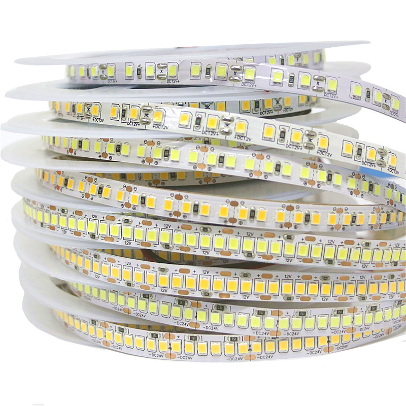 LED strip light 120/180/240 LEDs/m SMD 2835 White Warm White LED strip 12V 24V Not Waterproof IP30 flexible Tape rope strip 5mLED strip light 120/180/240 LEDs/m SMD 2835 White Warm White LED strip 12V 24V Not Waterproof IP30 flexible Tape rope strip 5m