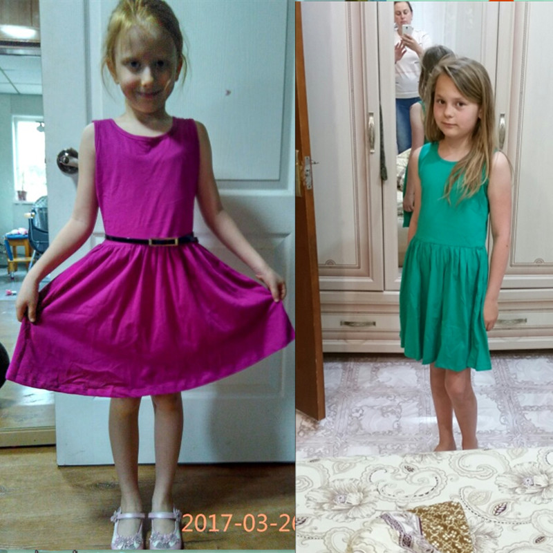 e4741dabcf79 100% Cotton Girl Dress Summer Vest Dresses For Girls With Belt Children  Casual Clothing Kids Clothes 2Pcs Set Baby Girl Clothing-in Dresses from  Mother ...