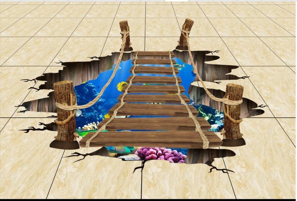 ФОТО SeaWorld pontoon 3D floor Custom Photo self-adhesive 3D floor 3D stereoscopic wallpaper floor