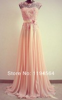 Free Shipping Cap Sleeves Appliques Chiffon Pink Full Length 2014 Bridesmaid Dresses GR13