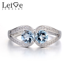 Leige Jewelry Natural Aquamarine Engagement Ring Double Stone Rings for Women Sterling Silver 925 Jewelry March Birthstone