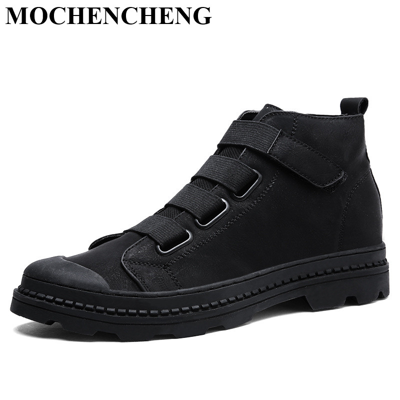 New Men Casual Shoes for Autumn Winter Ankle Boots with Fur Warm Platform Flat Solid Retro Stylish Wear Resistant Tooling Boots stylish solid color double deck winter warm knitted beanie for men