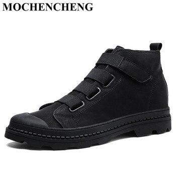 Nuevos zapatos casuales de hombre para Otoño Invierno botas de tobillo con plataforma cálida de piel plana sólida Retro elegante herramientas resistentes al desgaste botas