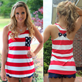 La moda de NUEVA marea Chaleco sleevless suelta más bellas damas camisa del palo de la bandera americana Camisetas Sin Mangas