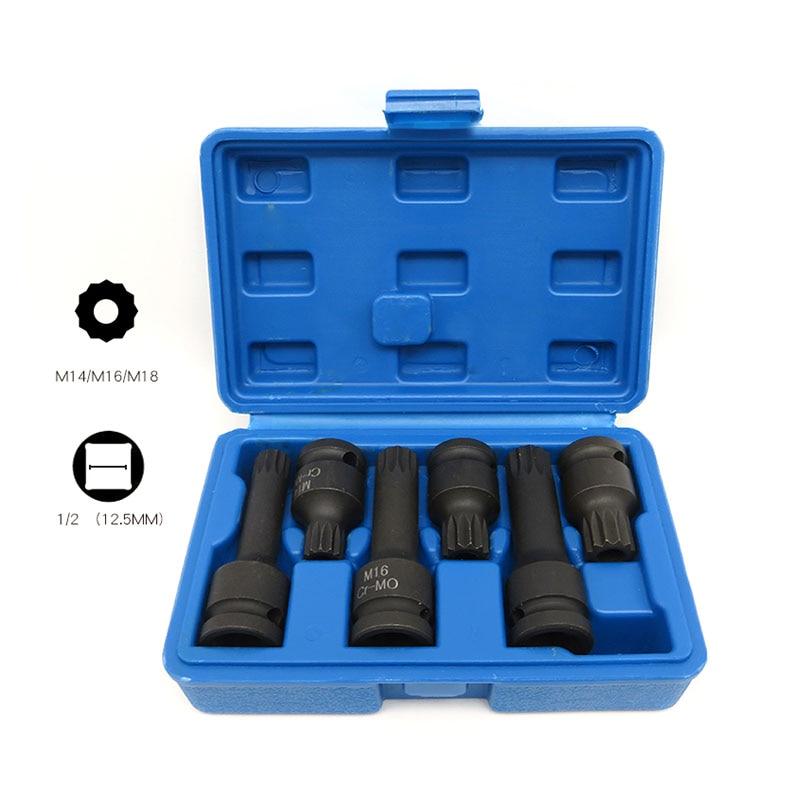 6pc M14 M18 Impact Bit Socket Set 1/2 Drive Chrome Molybdenum Steel Extension Bar Wrench Spline CR MO 12 Point Screwdriver Bit