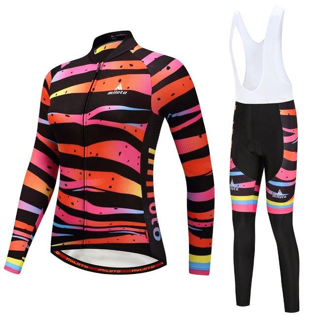 b892323bf Long Sleeve Cycling Jersey Women s Mountain Bike Jersey Set 2017 Ladies  Cycling Shirts Bicycle Jacket Reflective Long Pants Pad