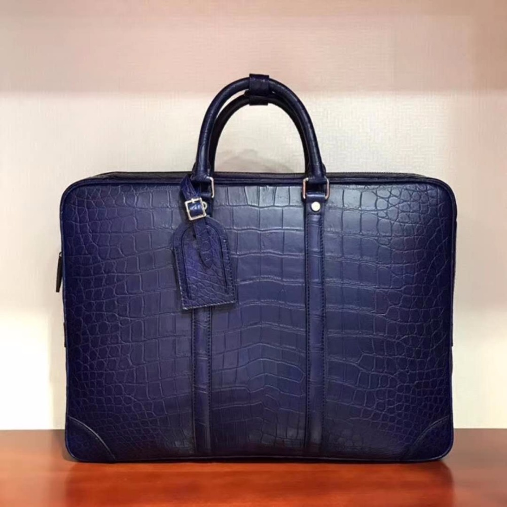 2018 Newly Production Men's Genuine/Real 100% Crocodile Belly Skin Briefcase Official Bag, Blue Crocodile Skin Business Men Bag