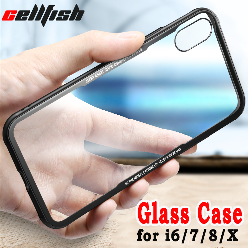 Luxury Mobile Phone Bag Case for funda iPhone 6 s 6s 7 8 Plus X Glass Cases 7Plus 8Plus Silicone Cover for Capinha iPhone7 Coque
