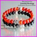 free ship! 10pcs Fashion Men's Beaded Buddha stretch Bracelet Red Dragon Veins Agate, Black Onyx Semi Precious stone Jewelry