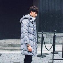 Бесплатная доставка 2016 Зима длинное пальто мужчины «с пуховик с капюшоном хлопок теплый молодежи толще пальто