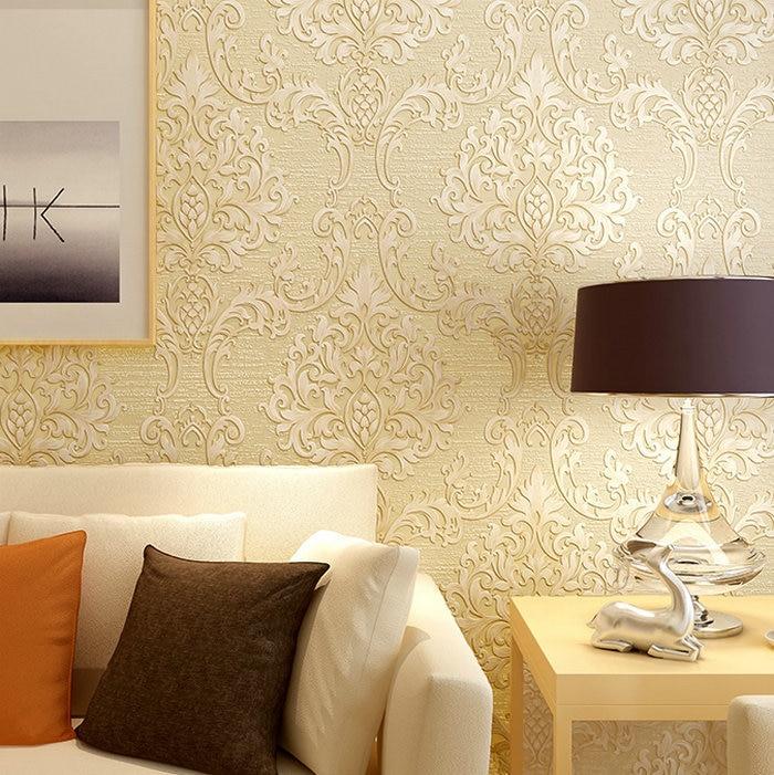 Vintage home decor embossed flocking luxury damask 3d wallpaper ...