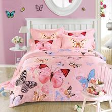 pink butterfly bedclothes tencel bedding set luxury 4pcs soft bed linen princess duvet cover sets king